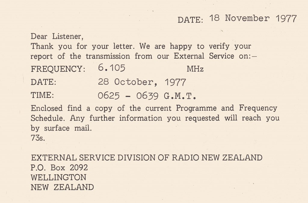 Radio New Zealand International | Bill's QSL Gallery