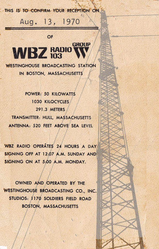WBZ 1030 Boston, Massachuesetts | Bill's QSL Gallery